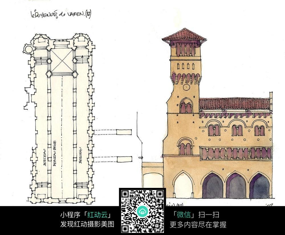 彩色欧式房屋设计稿