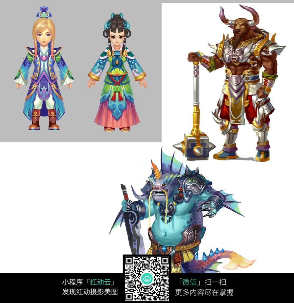 彩色游戏角色插画_人物卡通图片