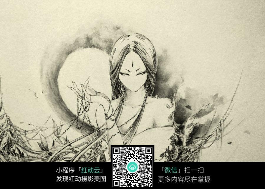 长发美女黑白水彩素描画图片