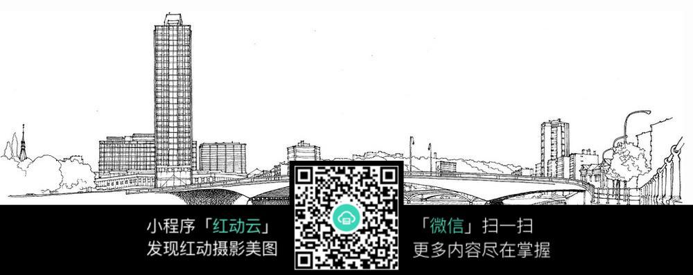 城市建筑大桥手绘线描图