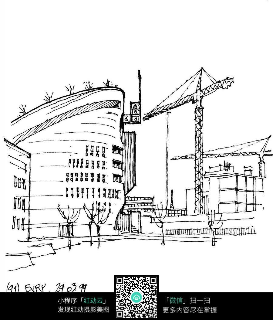 城市街景手绘线描图图片免费下载 编号3723240 红动网图片