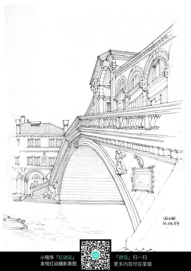 城市桥梁建筑手绘线描