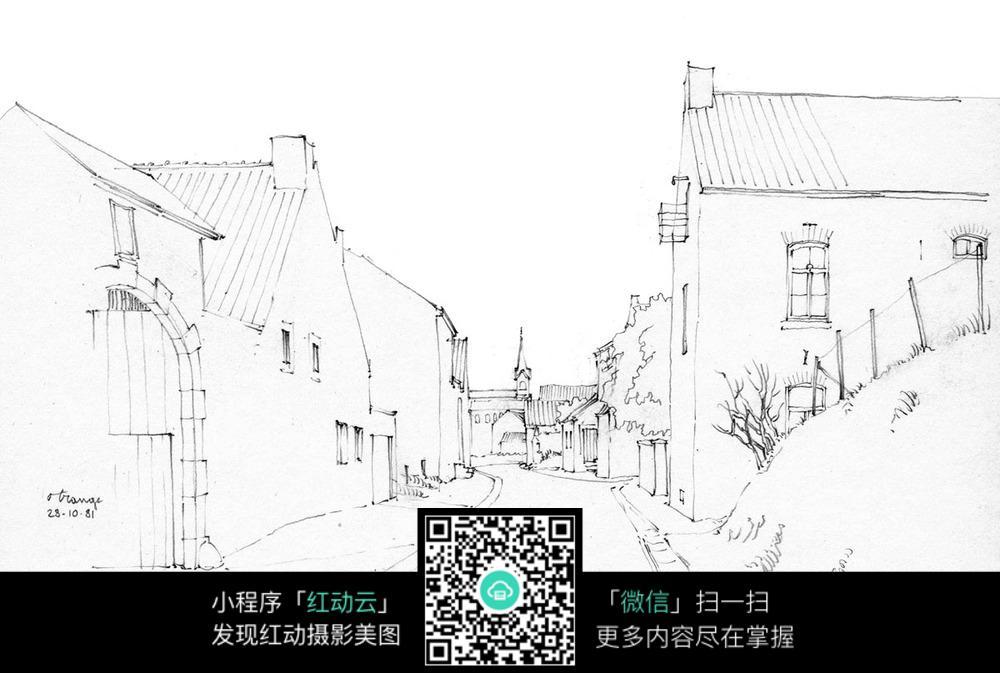 城市小街道建筑手绘图片免费下载 编号3724890 红动网图片