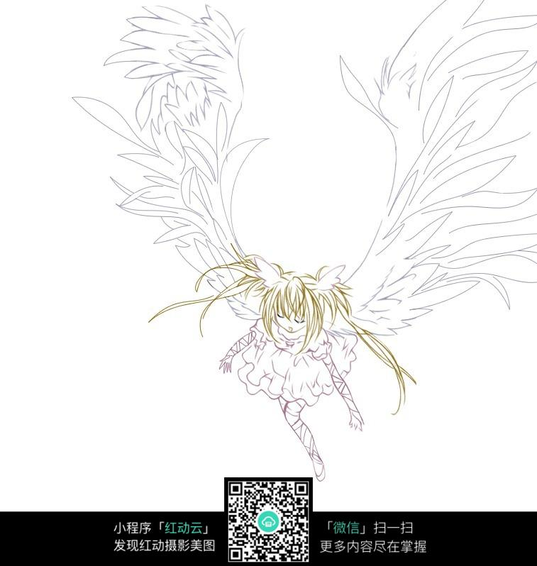 翅膀女孩卡通手绘线稿