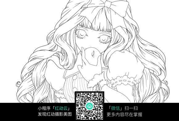 免费素材 图片素材 漫画插画 人物卡通 吃苹果的美女卡通手绘线稿  请