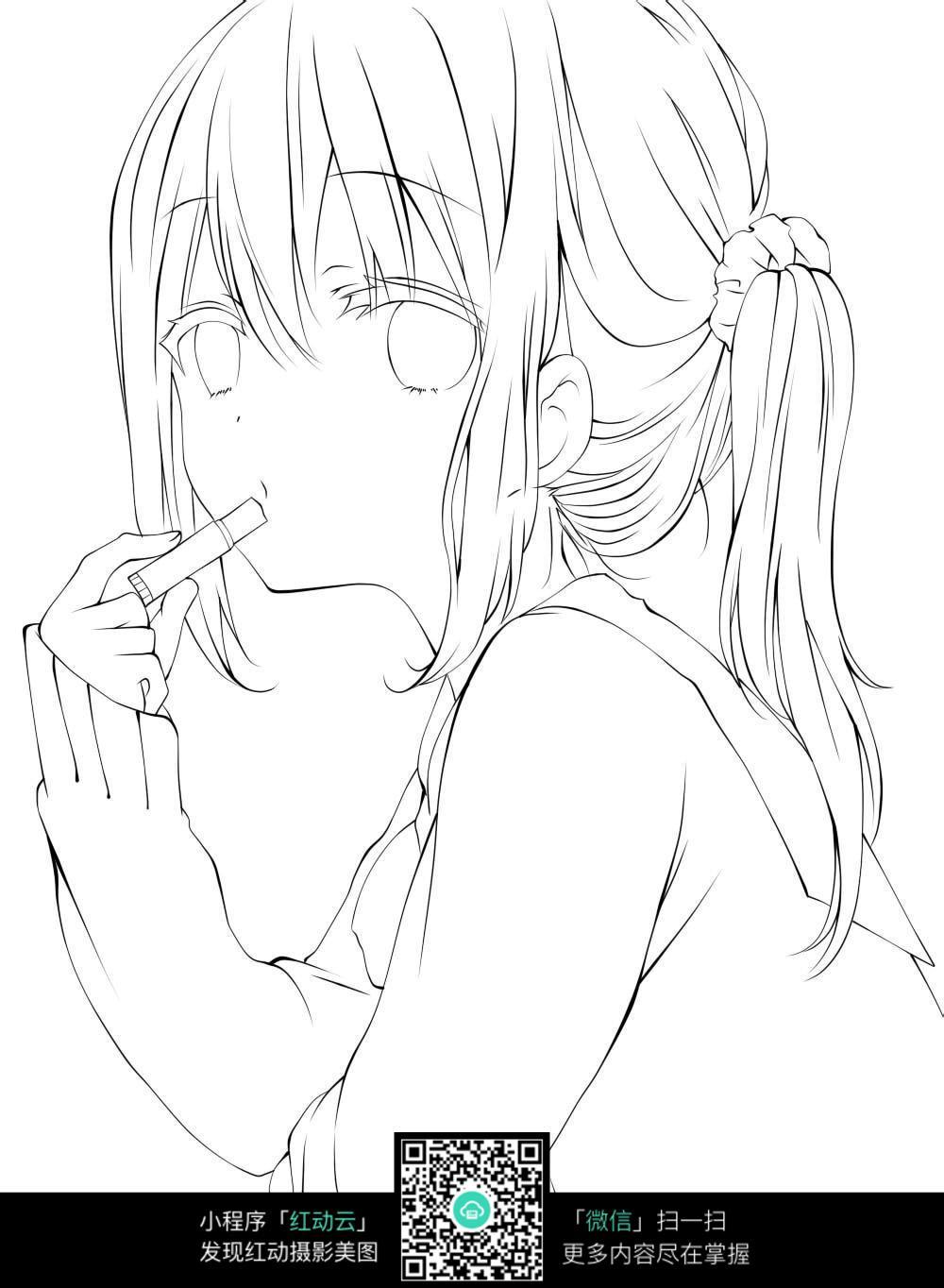 抽烟的小女孩线描_人物卡通图片