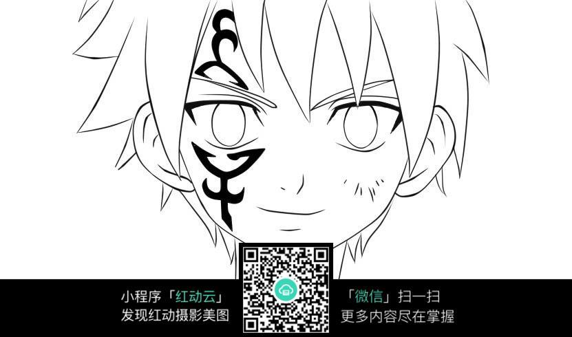 免费素材 图片素材 漫画插画 人物卡通 刺青男孩人物线描