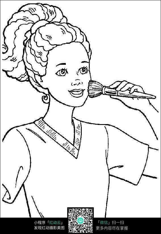 打扮化妆的女孩线描