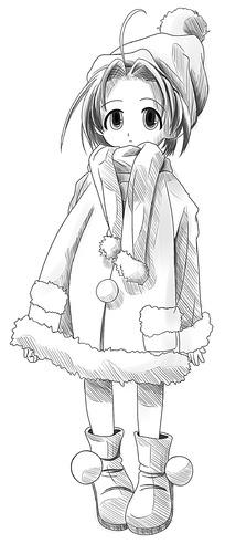 戴帽子的女孩卡通手绘线稿图片-漫画插画|绘画