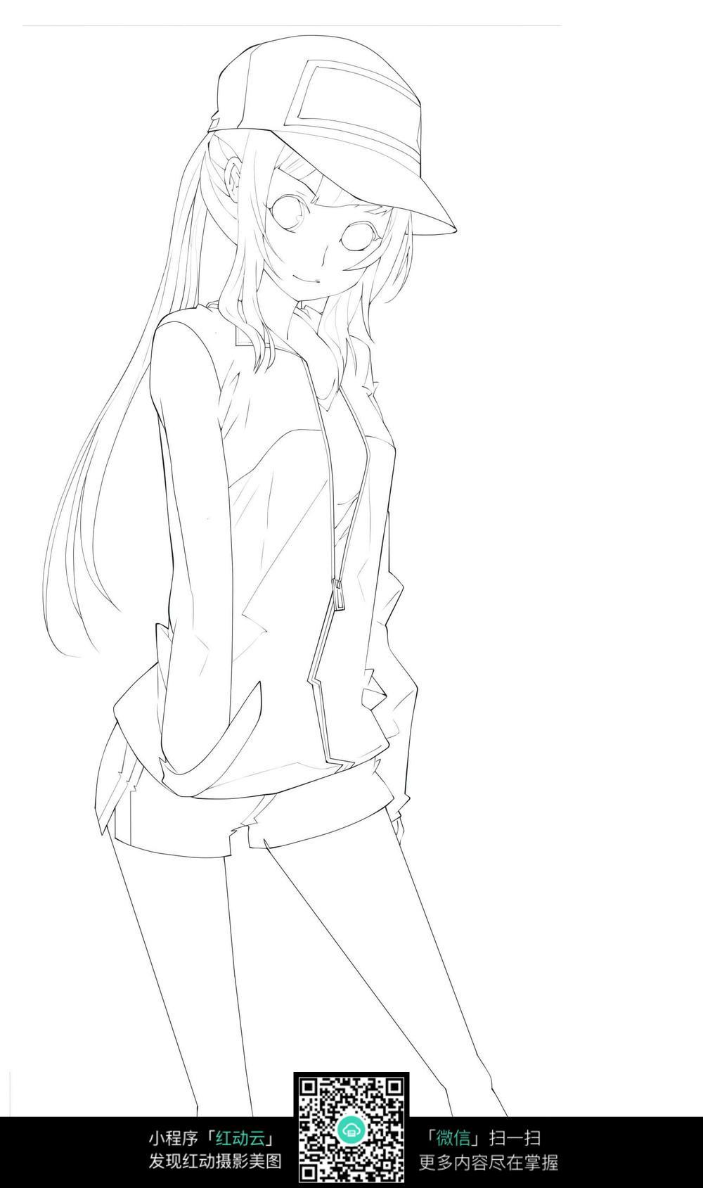 戴帽子的女孩 卡通手绘线稿图片