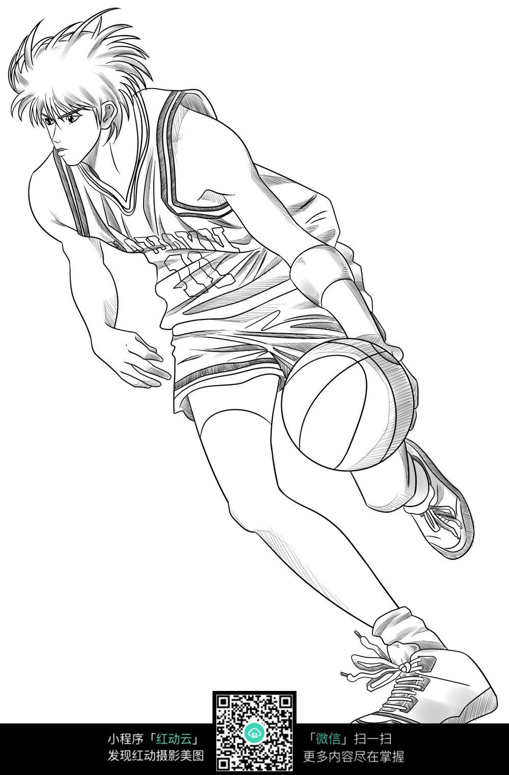 手绘男生抱篮球头像