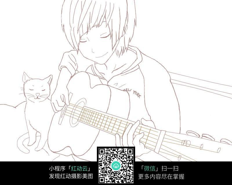 弹吉他的男孩卡通手绘线稿图片免费下载