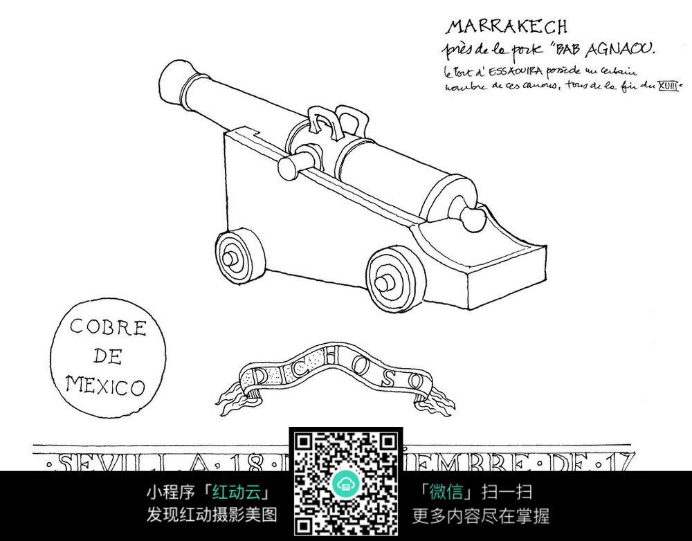 大炮手绘线描图