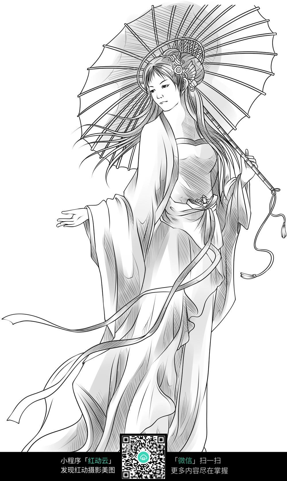 打伞的美女卡通手绘线稿