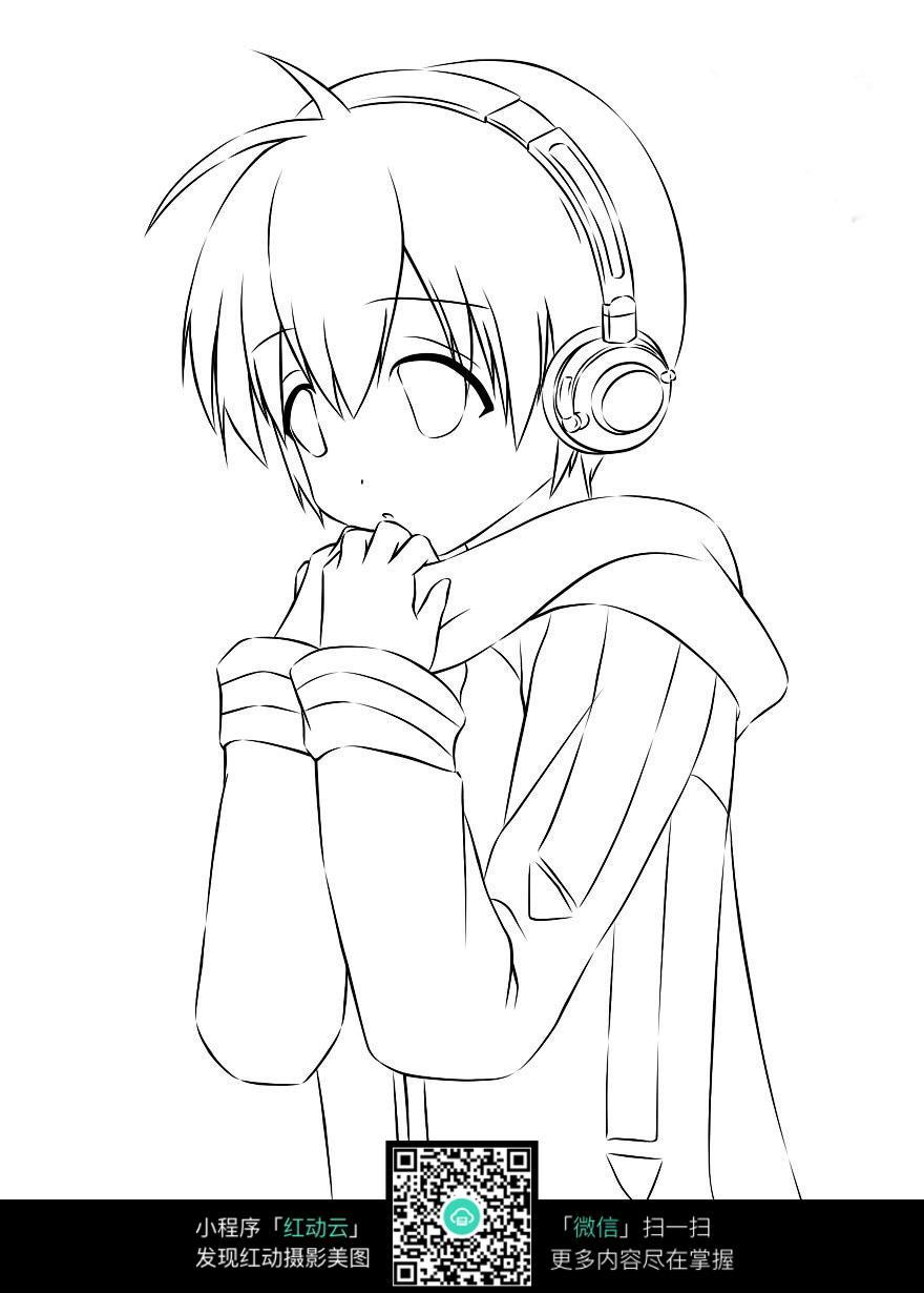 短发男孩卡通手绘线稿