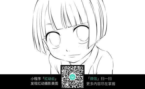 短发女孩卡通手绘线稿图片