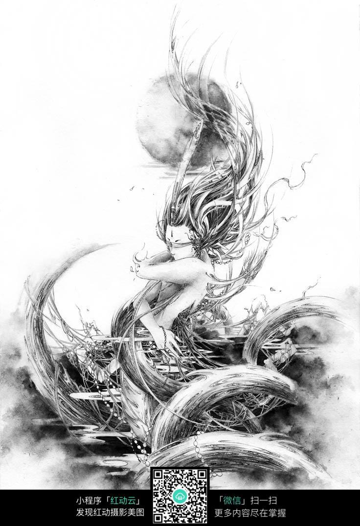 若游龙美女黑白素描画图片