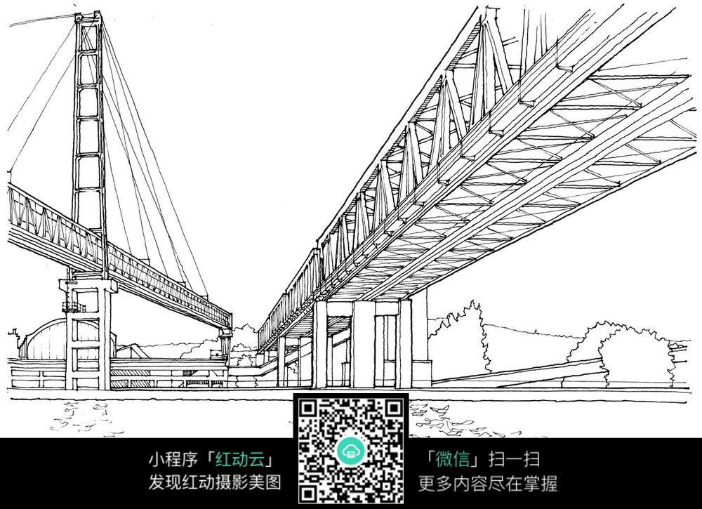 钢结构大型桥梁手绘线描图
