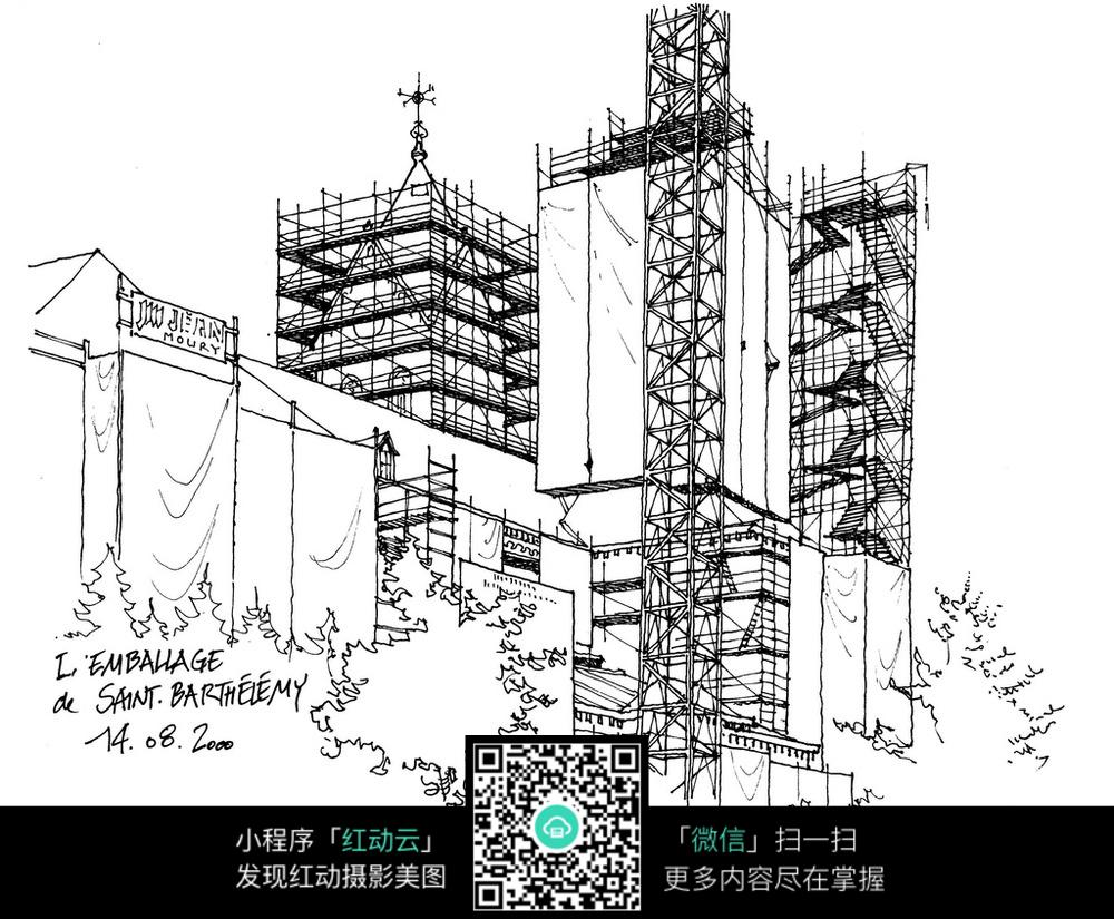 高层建筑手绘线描图