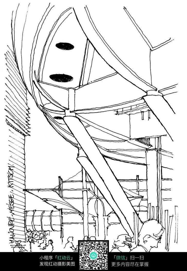 公共空间手绘线描图