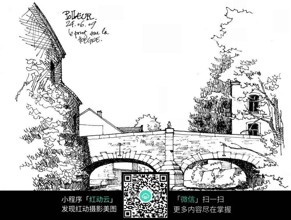 拱桥手绘线描画图片