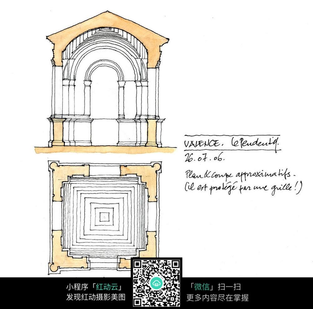 拱形建筑平面图手绘线描图