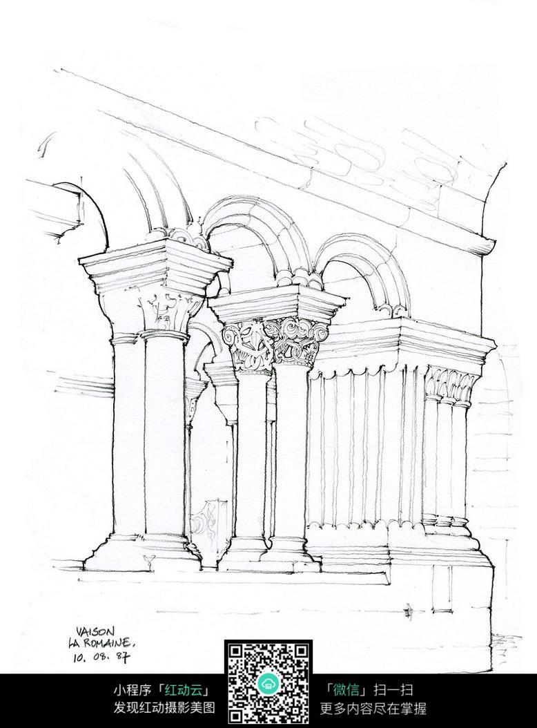 拱形建筑室内手绘线描图