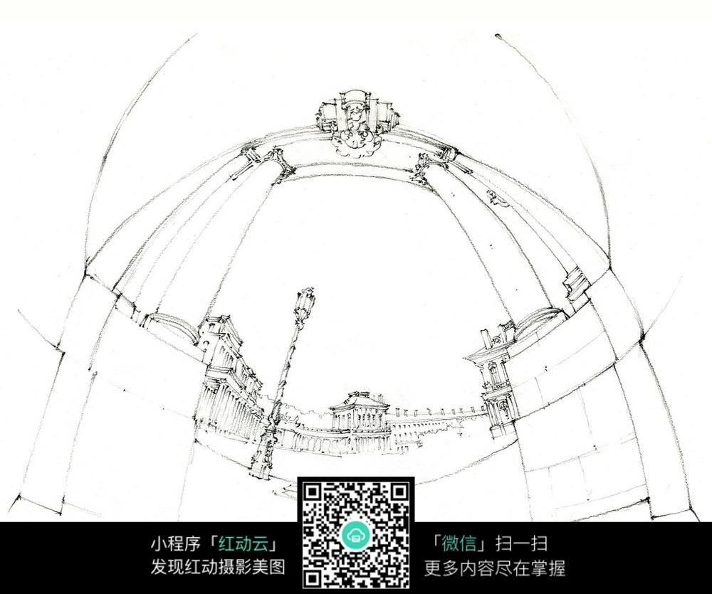 广角欧式建筑手绘线描图