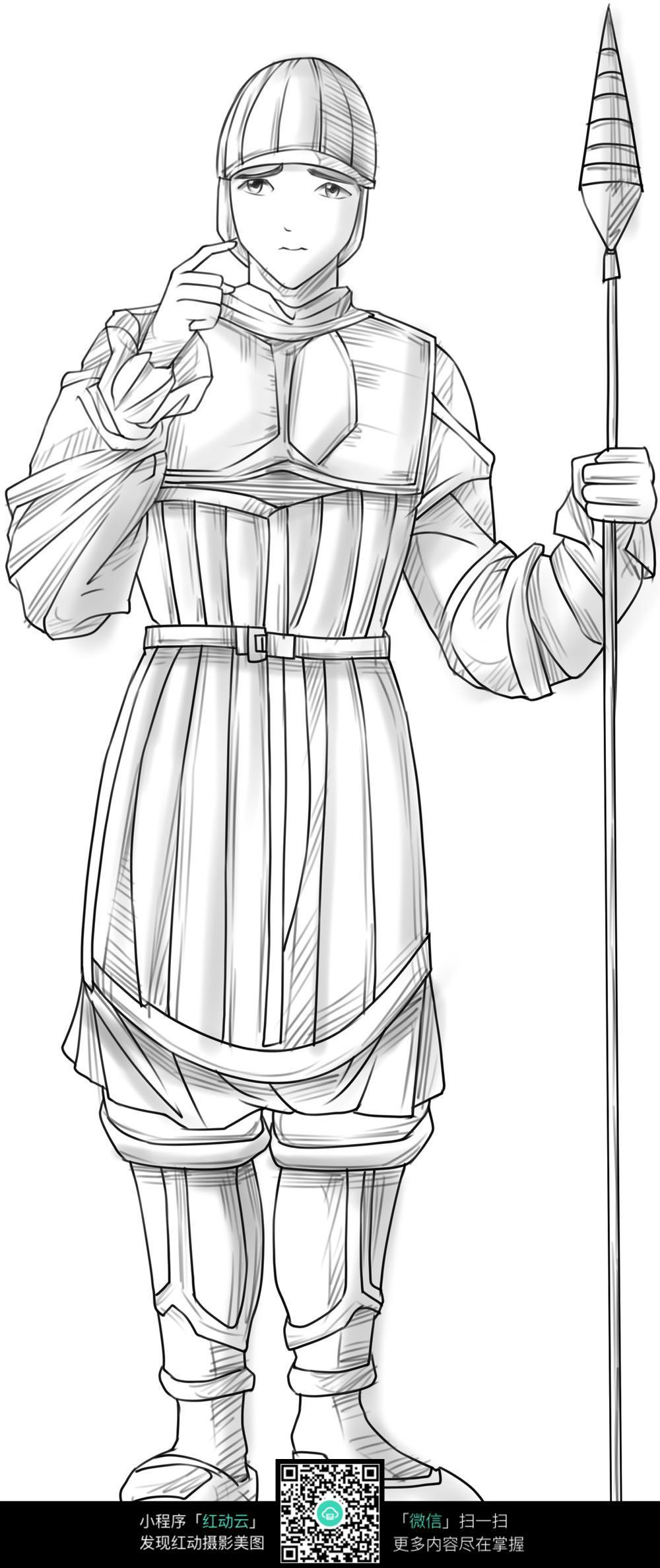 古代士兵卡通手绘线稿