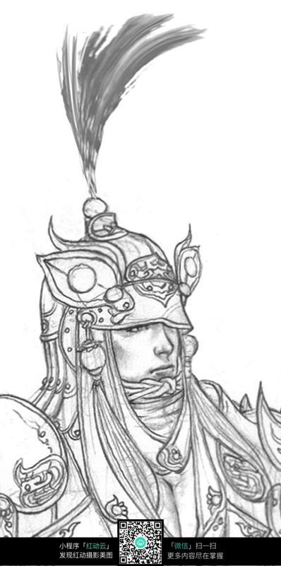 古典将军头像人物线描图片