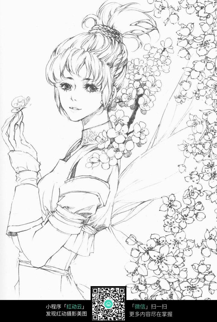 卡通古典美女线描_人物卡通图片_红动手机版