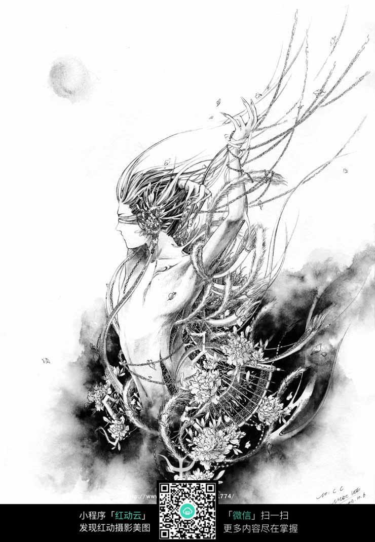 《鬼道》-缚香人物创意黑白水墨画