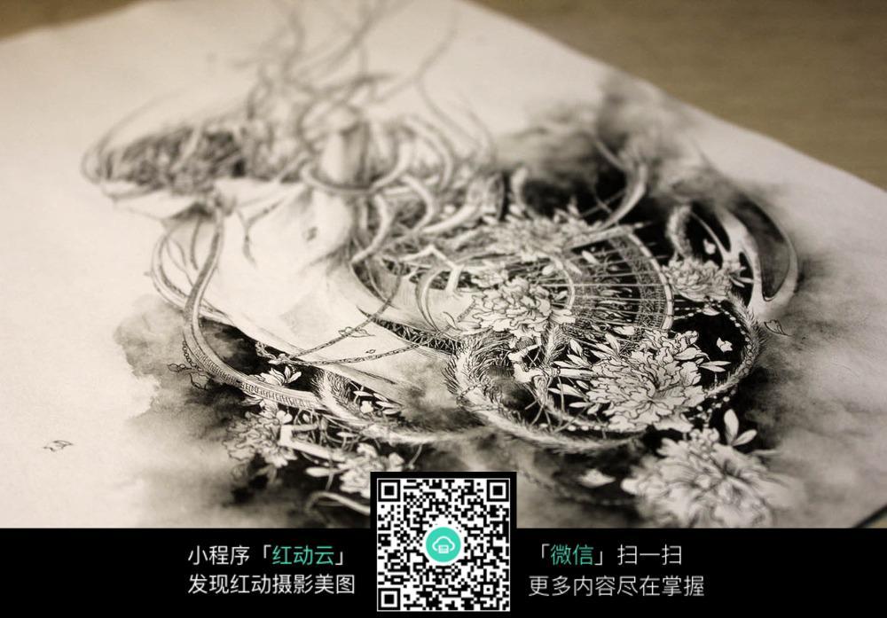 《鬼道》-缚香人物创意黑白水墨素描稿