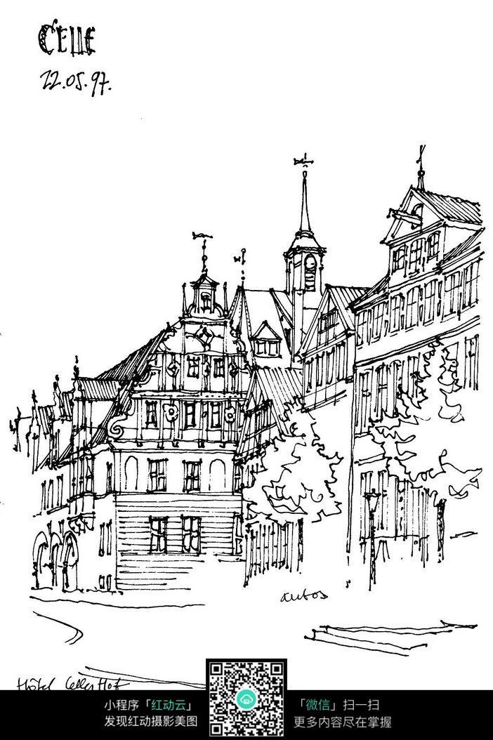 国外建筑手绘插图图片