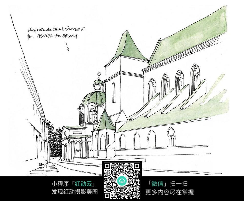 国外教堂街道手绘图_建筑设计图片