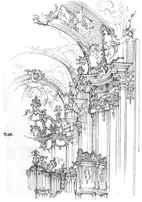 原创设计稿 方案意向 手绘素材 教堂建筑速写