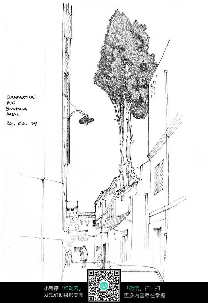 国外街区建筑侧墙手绘图