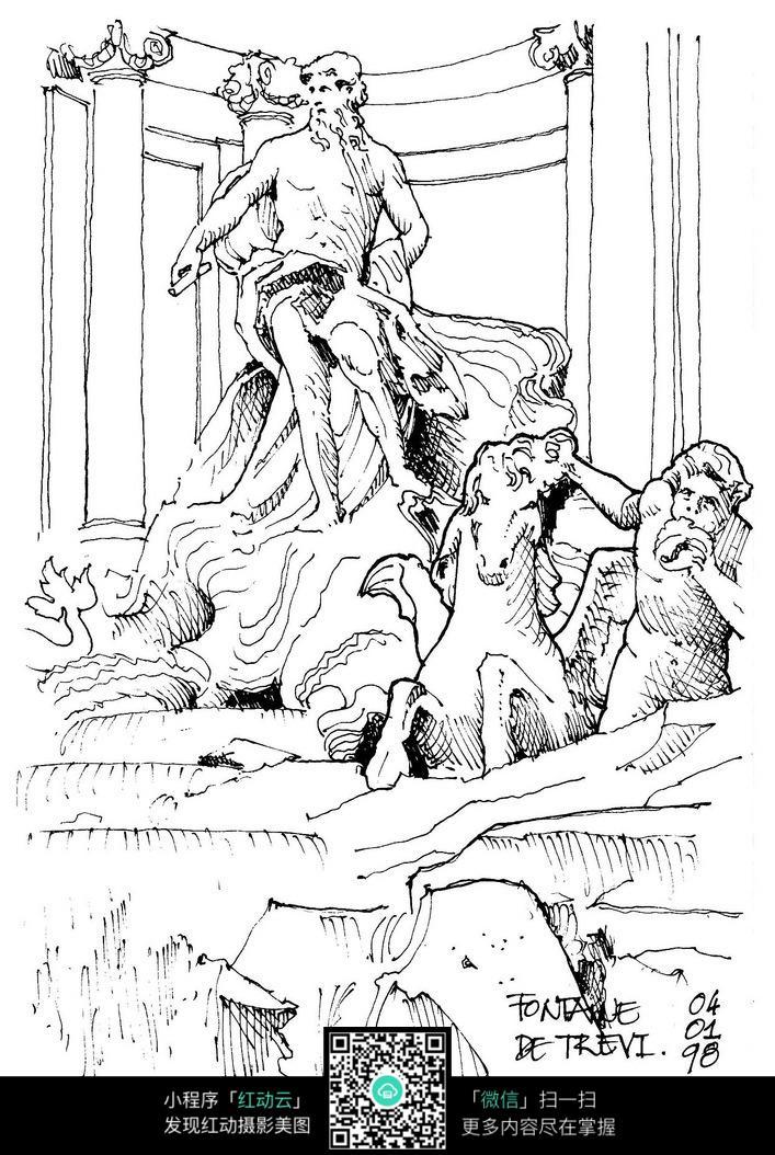 国外神话雕像手绘图图片