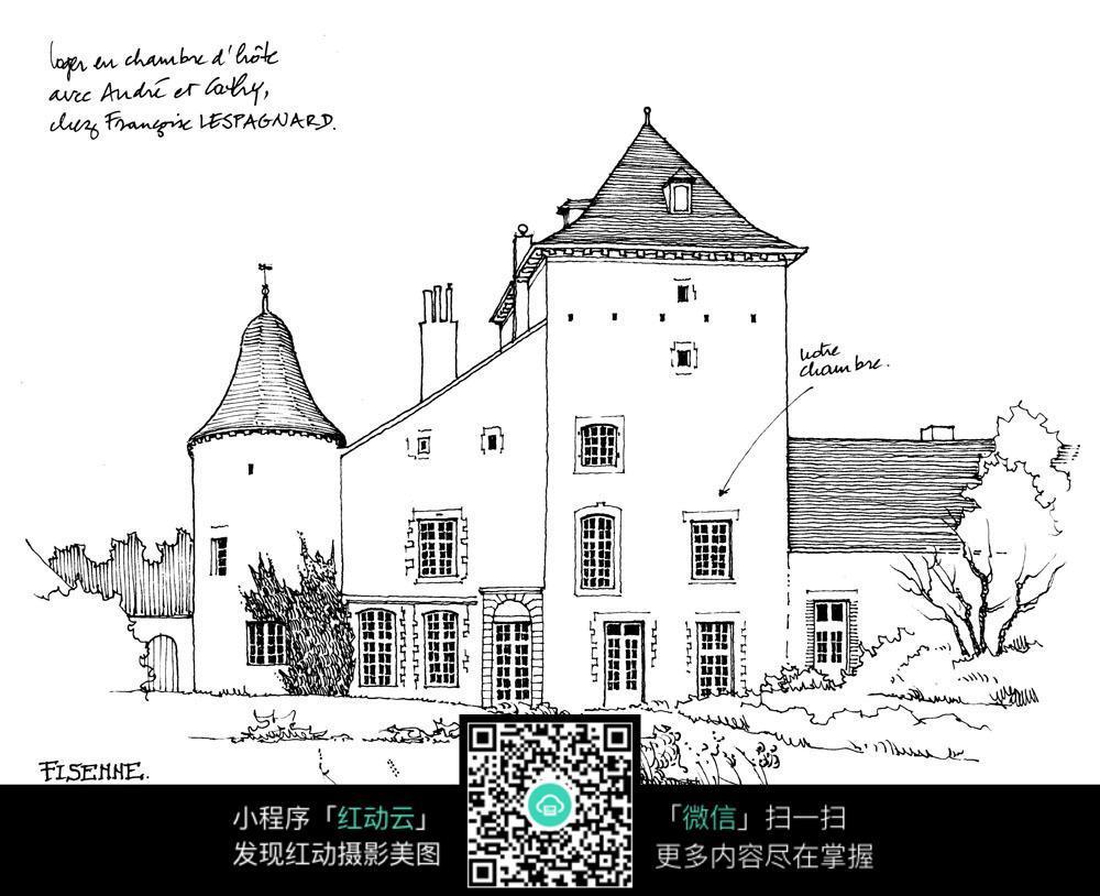 黑白欧式建筑手绘稿图片