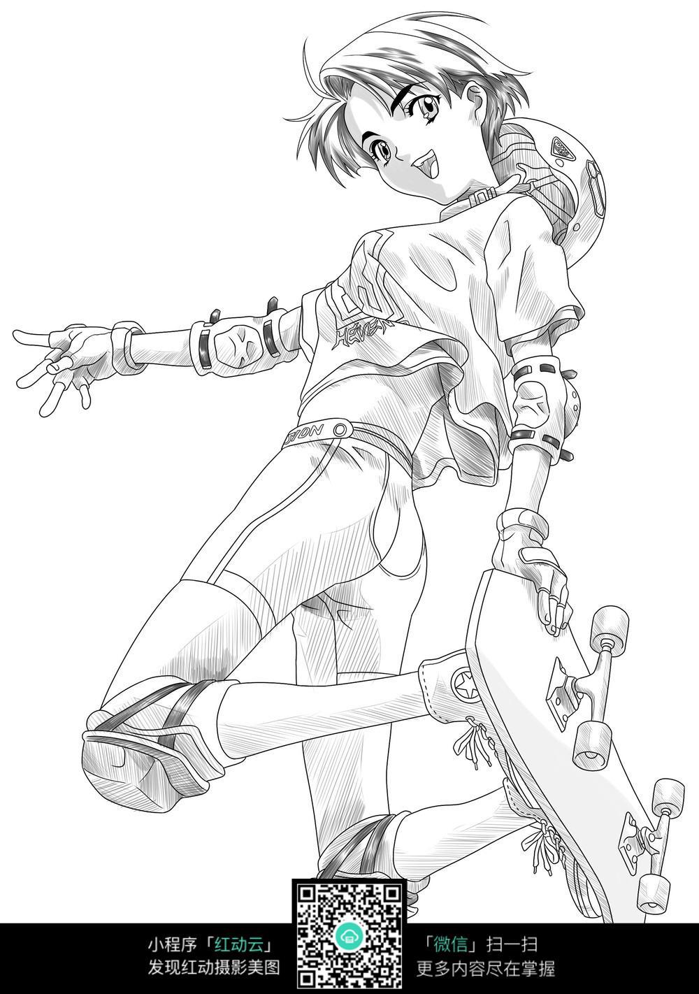 滑板女孩卡通手绘线稿