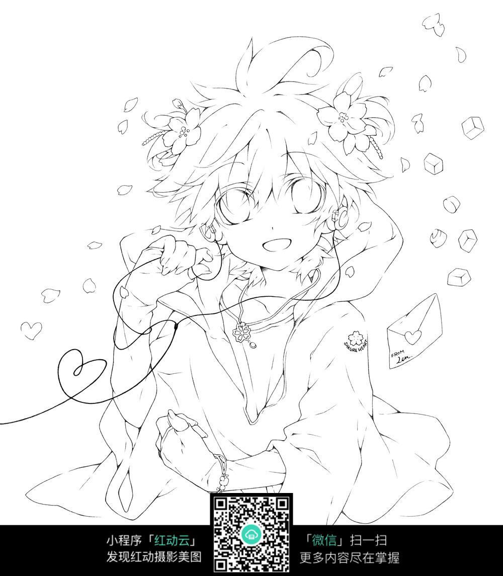 花朵和少女卡通手绘线稿图片
