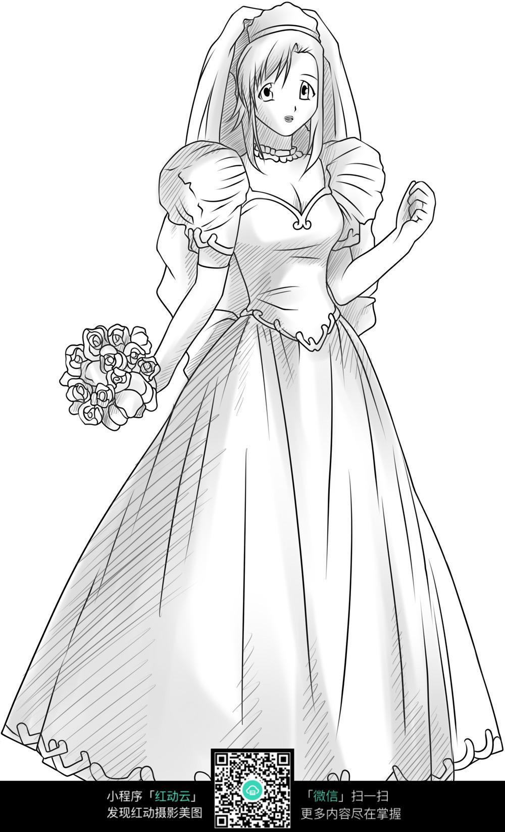 花束和少女卡通手绘线稿图片