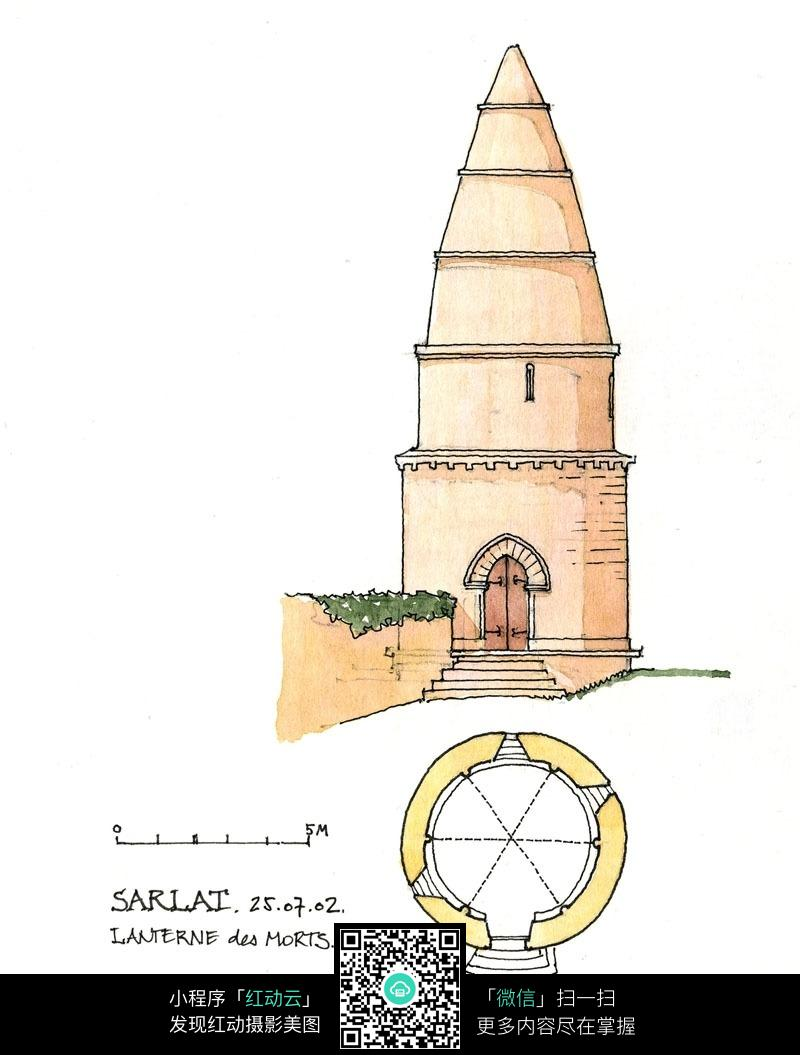 尖顶塔楼平面图手绘线描图