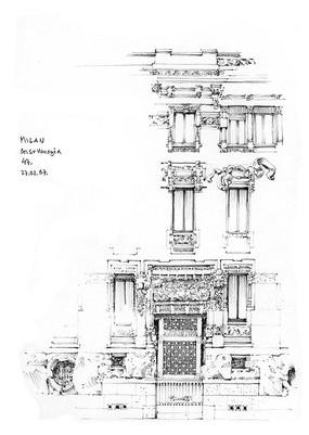 江南古建筑手绘图