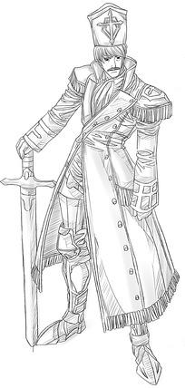 《剑和男子卡通手绘线稿》,已经被下载 0 次