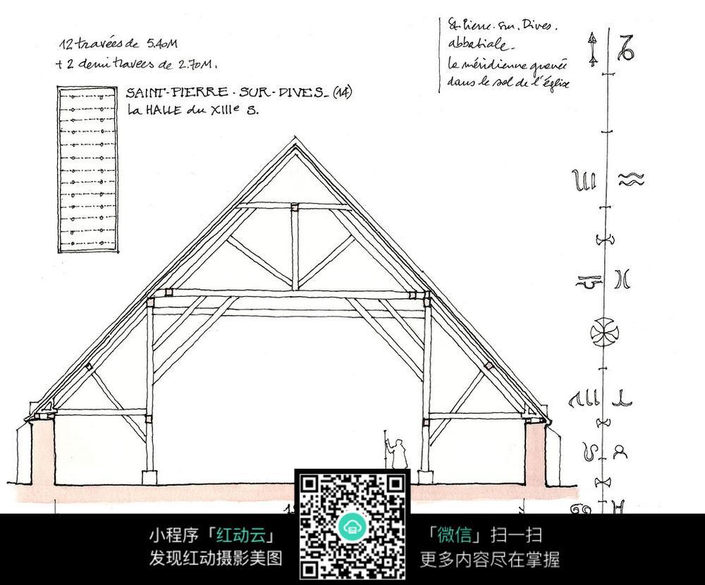 建筑结构框架手绘线描图