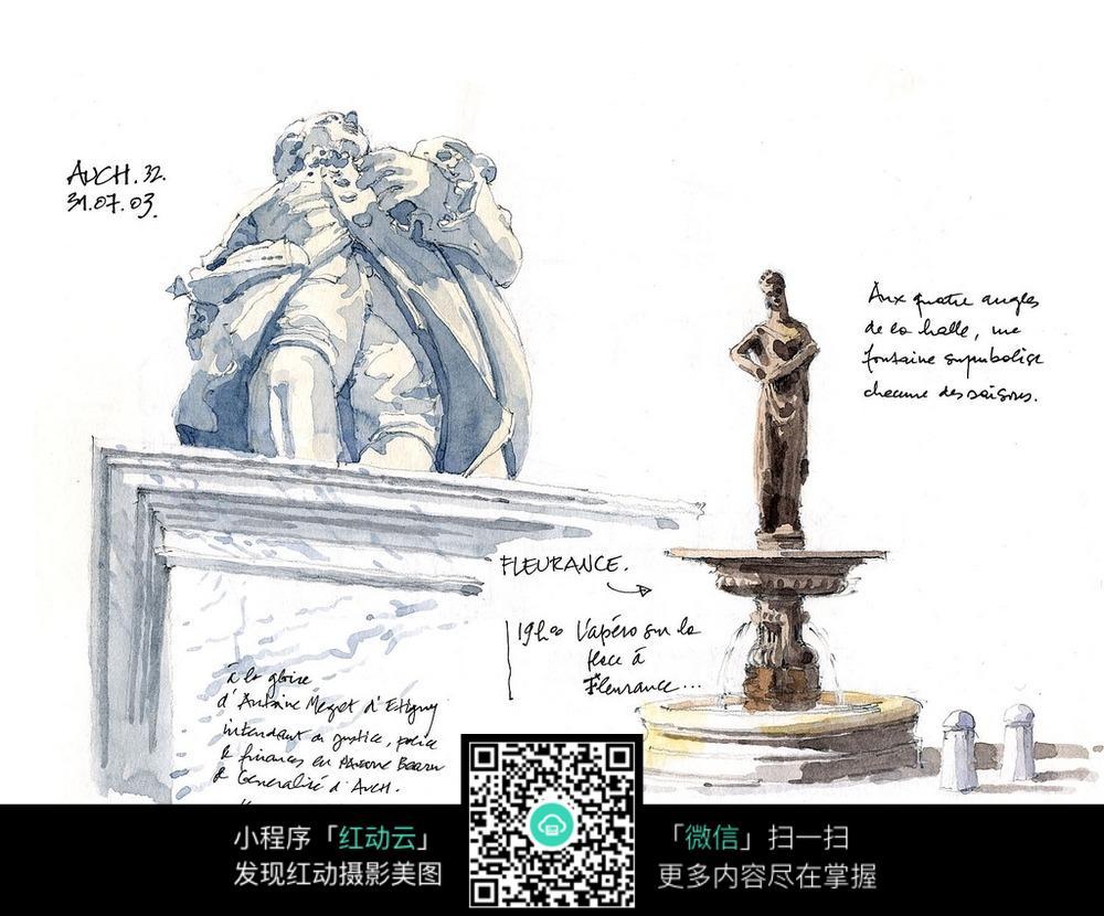 建筑景观雕塑手绘线描图图片