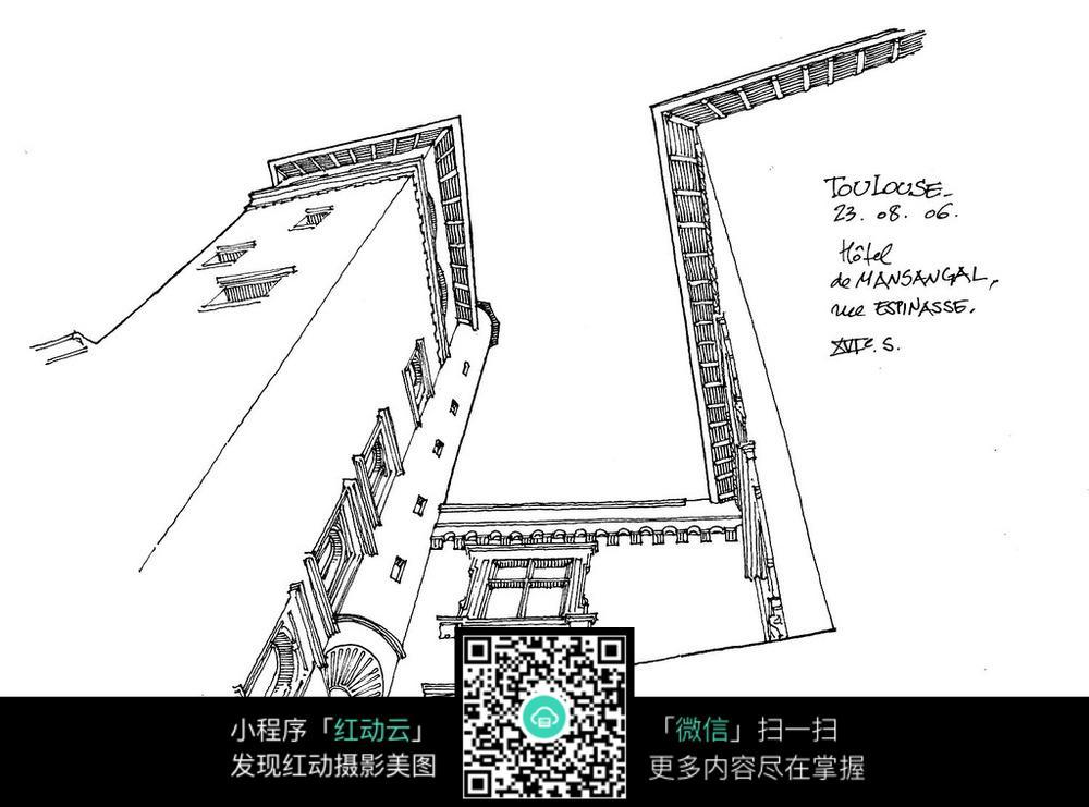 建筑仰视手绘线描图