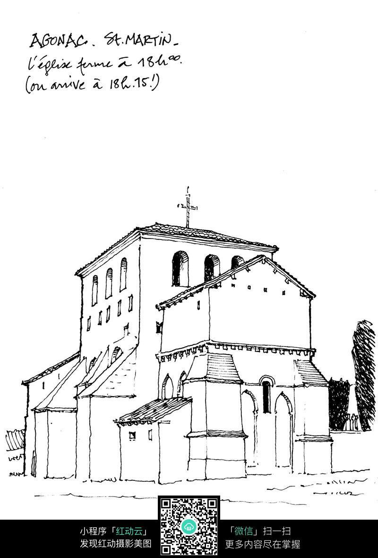 教堂建筑手绘线描图