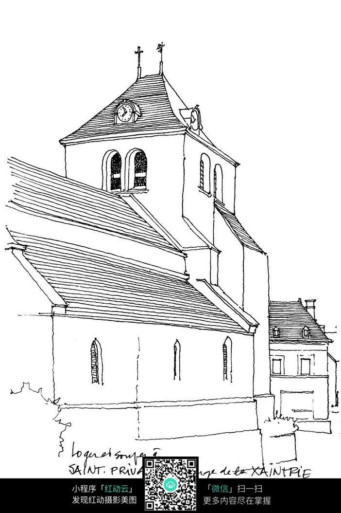 免费素材 图片素材 环境居住 建筑设计 教堂民居手绘线描  请您分享